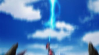 Ep 3 original: A bolt of lightning strikes Magna Alecto's hand.