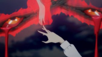 Ep 3 original: Yui tries to reach for Rena's hand.
