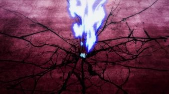 Ep 3 original: The dark red aura with a flaming sword stuck in it.