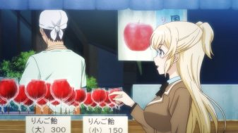 Ep 3 original: A stand with candied apples.