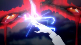 Ep 3 re-air: A flash of electricity when Yui tries to grab Rena.