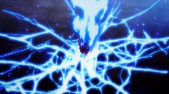 Ep 3 re-air: The aura is dark blue and light is shining through the cracks.